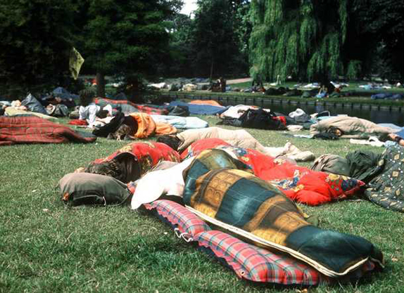 In the seventies sleeping thousands of hippies in the Vondelpark