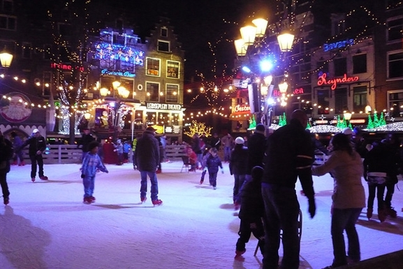Ice skating on the Leidseplein