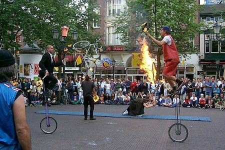 Jugglers on the Leidseplein in Amsterdam