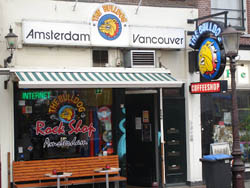 Coffeeshop The Bulldog Rock Shop in Amsterdam in the Netherlands