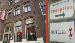 Hotel 83 in the Red Light District in Amsterdam in the Netherlands
