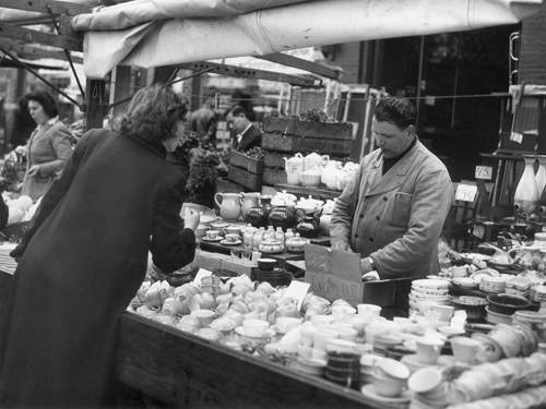 Old Albert Cuyp market kitchenware and tableware stall