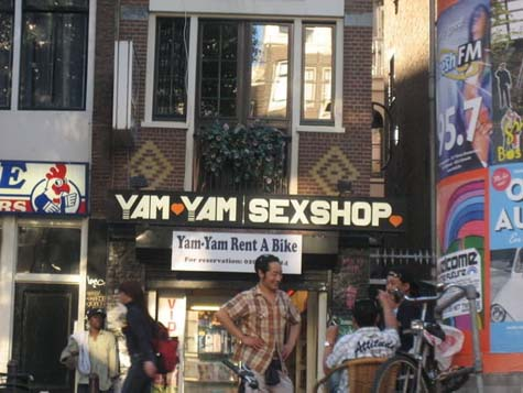 Rent a bike in a sex shop